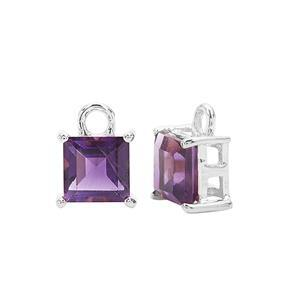 925 Sterling Silver Square Charm With 1.50cts Amethyst Approx 5mm (2pcs)