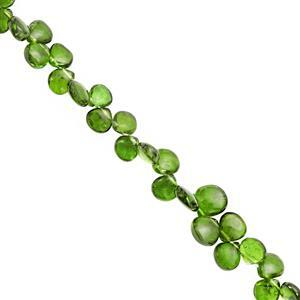 38cts Chrome Diopside Top Side Drill Smooth Heart Approx 4 to 6.5mm, 20cm Strand