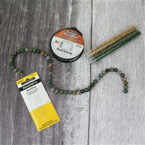 Forest Fancy inc Fancy Jasper rounds (8mm), wildfire thread, needles & Miyuki seed beads