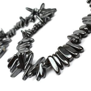 600cts Haematite Long Chips Approx 4x12-6x20mm, 38cm Strand
