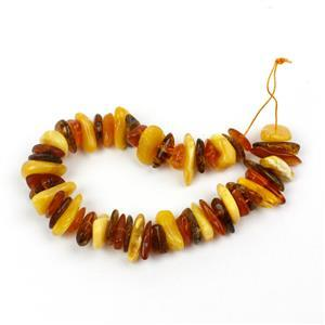 Baltic Multi Colour Amber Centre Drilled Chips Inc. Butterscotch, Earthy, Off-White, Approx. 5x11-8x17mm (20cm Strand)