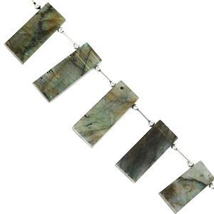 205cts Labradorite Smooth Fancy Slabs 24x9.5 to 35.5x15mm, 19.5cm Beads Strand With Spacers