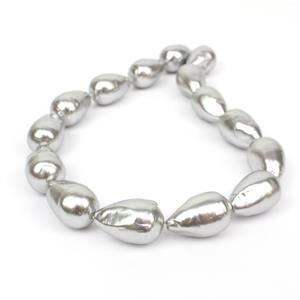 Silver Baroque Drop Shell Pearls Approx 16x25mm, 38cm strand