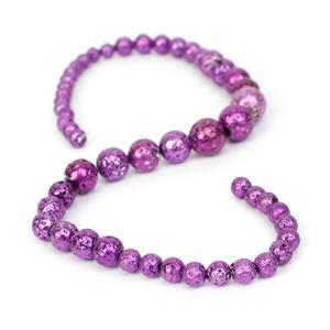 160cts Purple Lava Rock Graduated Plain Rounds Approx 6 to12mm, 38m Strand