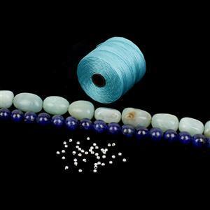 Serentity Blue; S-Lon, Dyed Lapis Lazuli, Multi Coloured Amazonite & 925 Spacer Beads