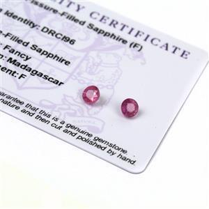 1.1cts Ilakaka Pink  Sapphire 5x5mm Round  (F) (Pack of 2)