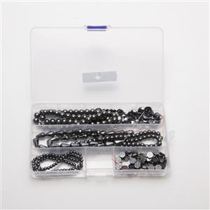 1249cts Black Haematite Mix Shapes & Sizes, 38cm (6 Strands in Box)