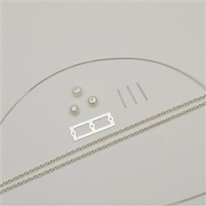 935 Argentium Finest Silver Floating Freshwater Cultured Pearl Pendant Kit