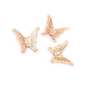 Rose Gold Plated 925 Sterling Silver Filigree Butterfly Connectors Approx 16x17mm 3pk