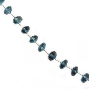 35cts London Blue Topaz Graduated Faceted Rondelles Approx 4x2 to 7x3mm, 17cm Strand.