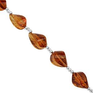 20cts Madeira Citrine Graduated Faceted Twisted Drops Approx 7x4 to 11x7mm, 11cm Strand With Spacers.