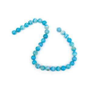 370cts Dyed Light Blue Stripe Agate Plain Rounds Approx 12mm, 38cm Strand