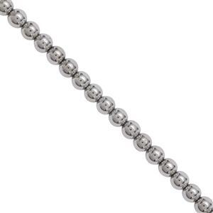 215cts Silver Coated Haematite Smooth Round Approx 4mm, 100cm Strand