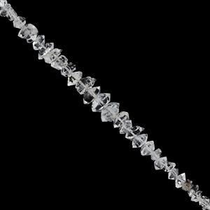 28cts Herkimar Diamond Quartz Graduated Faceted Nugget Approx 2.5x1.5 to 11x5mm, 19cm Strand
