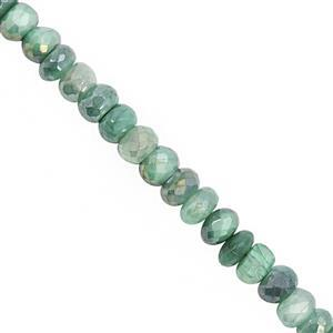 78cts Green Coated Moonstone Graduated Faceted Rondelle Approx 5x2.5 to 8x5mm, 20cm Strand