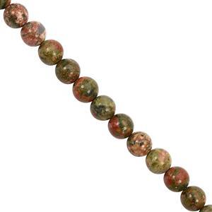 155cts Unakite Smooth Round Approx 8 to 8.50mm, 30cm Strand