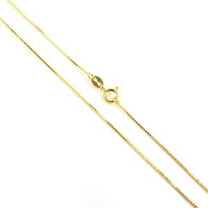 18ct Gold Vermeil Plated Sterling Silver Box Chain 45cm/18