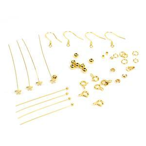 Gold Plated 925 Sterling Silver Findings Pack With Cubic Zirconia Star Headpins 40pc