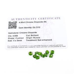 4.8cts Chrome Diopside 5mm Cushion Pack of 10 (N)