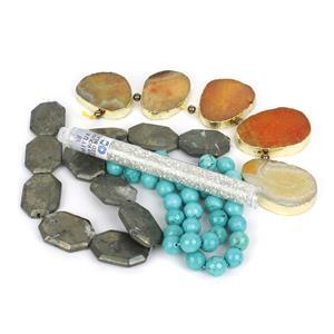 Pyrite Faceted Slabs Kit; Pyrite, Agate, Magnesite & Seed Beads