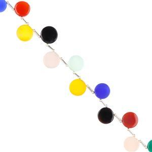 80cts Multi-Colour Dyed Onyx Graduated Plain coins Approx 10 to 13mm, 20cm Strand.