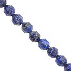300cts Natural Lapis Lazuli Faceted Drum 9x10mm Beads Necklace with Lobster Lock & Extension -18