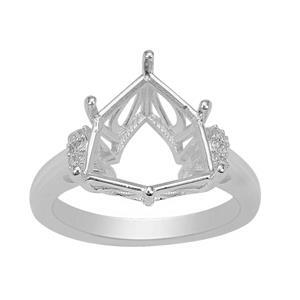 Rudi Wobito Alpine Cut 925 Sterling Silver Ring Mount With White Zircon Pave Side Detail (To Fit 12mm Alpine Cut Stone)