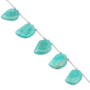 98cts Amazonite Top Side Drill Smooth Fancy Shapes Tie Approx 17x12.5 to 27x13mm, 16cm Strand with Spacers