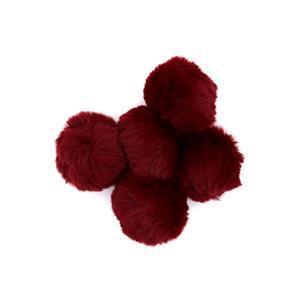 Burgundy Faux Fur Pom Poms, 8cm (5pcs/pack)