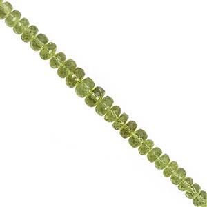 58cts Peridot Graduated Faceted Rondelle Approx 4x2 to 6.5x4mm, 20cm Strand