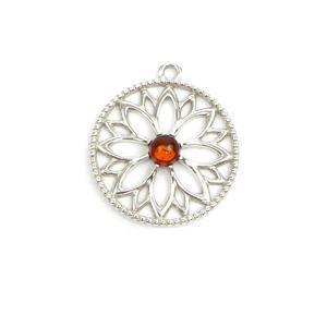 Baltic Coganc Amber Sterling Silver Mandala Pendant, Approx 20x22mm