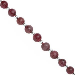 58cts Natural Ruby Graduated Smooth Round Approx 5 to 7mm, 16cm Strand with Spacers