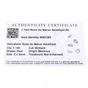 1.15cts Rose du Maroc Amethyst 5x4mm Pear  (N)