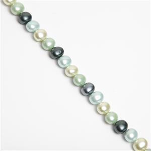 Aqua, Lime, Pale Green & Deep Green Shell Potato Pearls Approx 12x15mm, 38cm strand