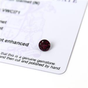 0.85cts Rajasthan Garnet 6x6mm Round  (N)