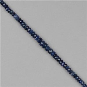 18cts Burmese Sapphire Graduated Faceted Rondelles Approx 3x1 to 5x2mm, 8cm Strand.