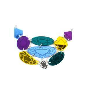 Acrylic Etched Mirror Gemstone Shape Necklace - 13 pieces