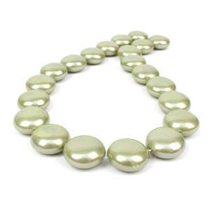 Pale Green Shell Pearl Coins Approx 18mm, 38cm strand