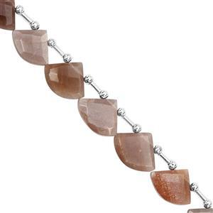 78cts Chocolate Moonstone Top Side Drill Faceted Axe Approx 10.5x8.5 to 19x16mm, 22cm Strand with Spacers