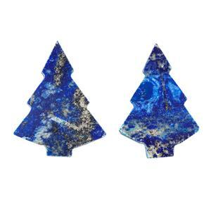 110cts Lapis Lazuli Plain Christmas Tree Shape Gemstones.Approx 28x37- 32x42mm(Pack of 2)