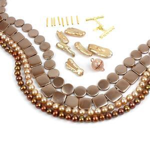 Under the Sea; Copper Shell & Freshwater Cultured Pearl Mega Kit with Clasp