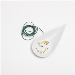 Dark Green Leather Cord with Gold Plated 925 Sterling Silver Moon/Spacer Bracelet Kit