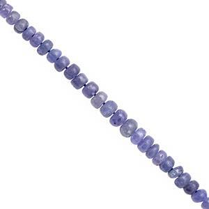 27cts Tanzanite Graduated Smooth Roundelle Approx 2x1 to 5x3mm, 15cm Strand
