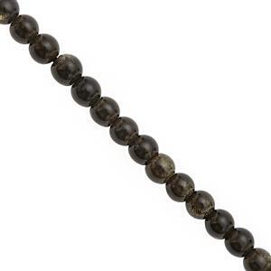 28 cts Golden Sheen Obsidian Smooth Round Approx 4mm, 28cm Strand