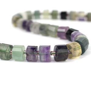 310cts Fluorite Faceted Cylinders Approx 10x6.5mm, 38cm Strand