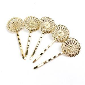 Gold Coloured Base Metal Filigree Bobby Pin Blanks, Approx 25x67mm (5pk)