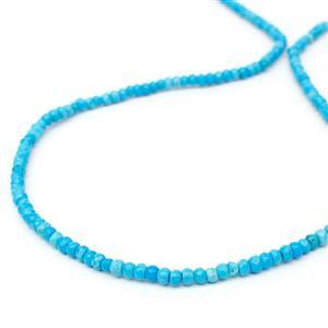 20cts Dyed Bright Blue Magnesite Faceted Rondelles Approx 3x2mm, 38cm Strand