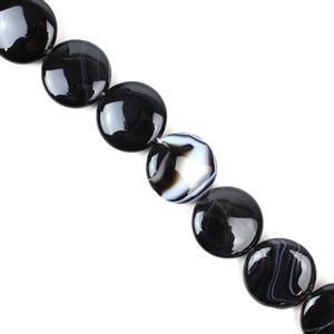 520cts Black Stripe Agate Puffy Coin Approx 25mm, 38cm/strand