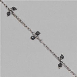 1m Black Plated Brass Cluster Chain Inc. 16cts Black Spinel Faceted Rondelles Approx 3x2mm
