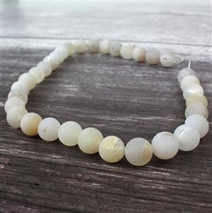 390cts White Frosted with Druzy hole Agate Plain Rounds Approx 12mm, 38cm Strand